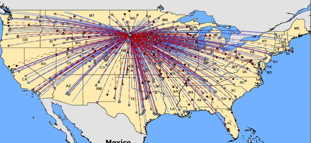 PIERRE REGIONAL AIRPORT FLIGHT ACTIVITY MAP