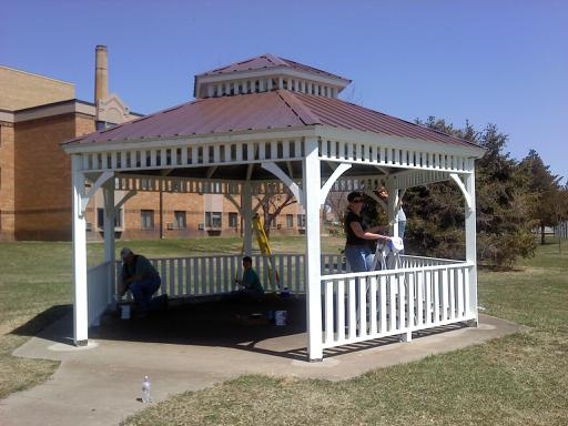 First National Bank Employees Paint Gazebo