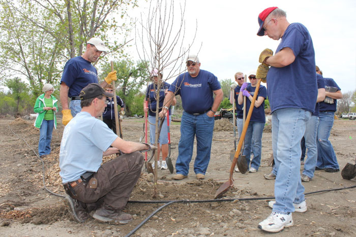 Volunteers Plant Trees at the Golf and Park Shop